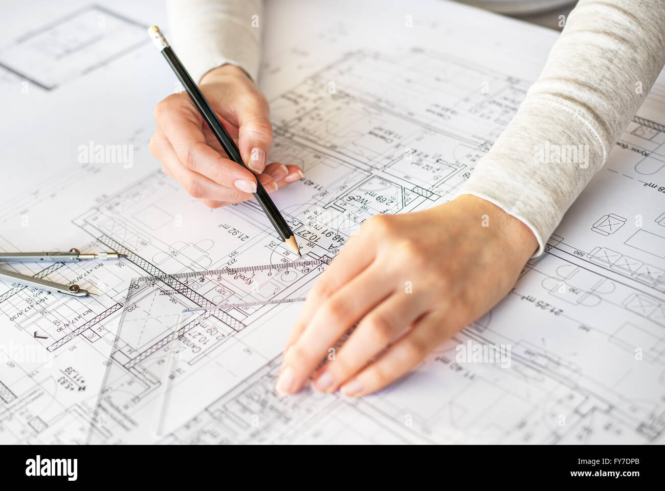 Interior Cad Hands Of Engineer Drawing By Pencil Stock Photo Royalty