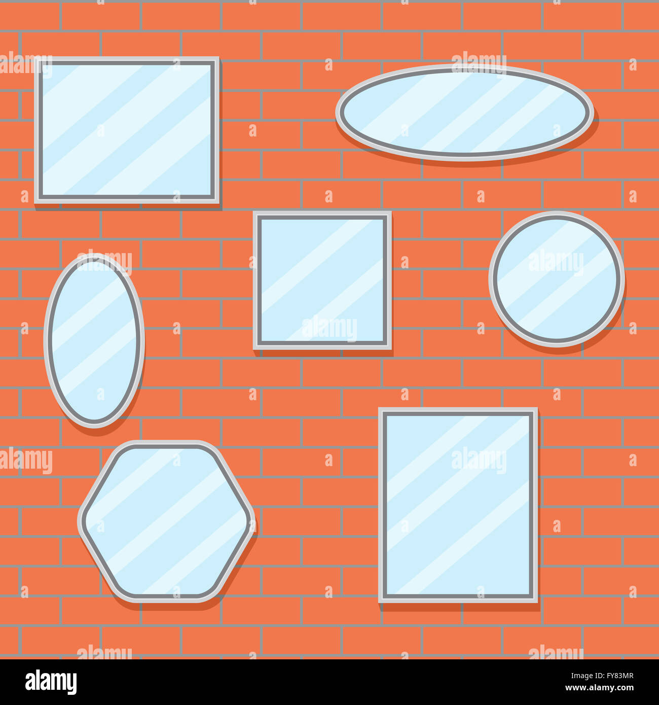 orange wall mirror image collections