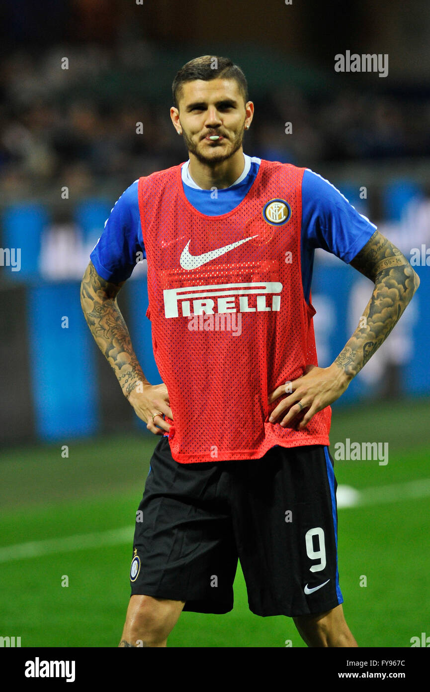 Milan Italy 23rd Apr 2016 Mauro Icardi of FC Inter before the
