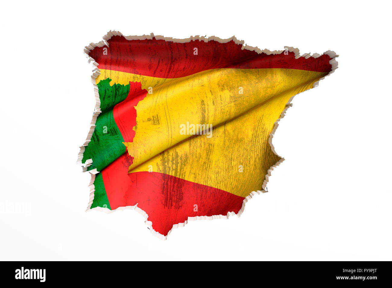D Rendering Of Bright Colorful Iberian Peninsula Map Isolated In - Portugal map flag