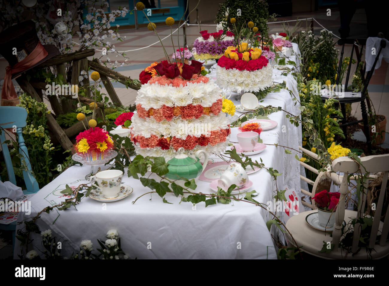 Mad Hatter Tea Party Table - Mad hatter tea party table feast floral cakes at cake international the sugarcraft cake decorating and baking show in london