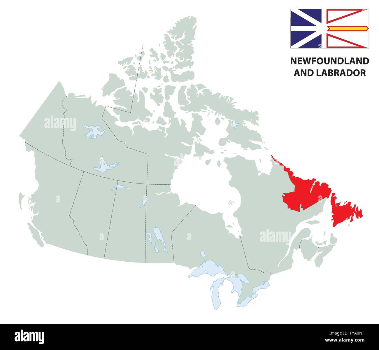 Outline map of the canadian province newfoundland and labrador outline map of the canadian province newfoundland and labrador with flag gumiabroncs Images