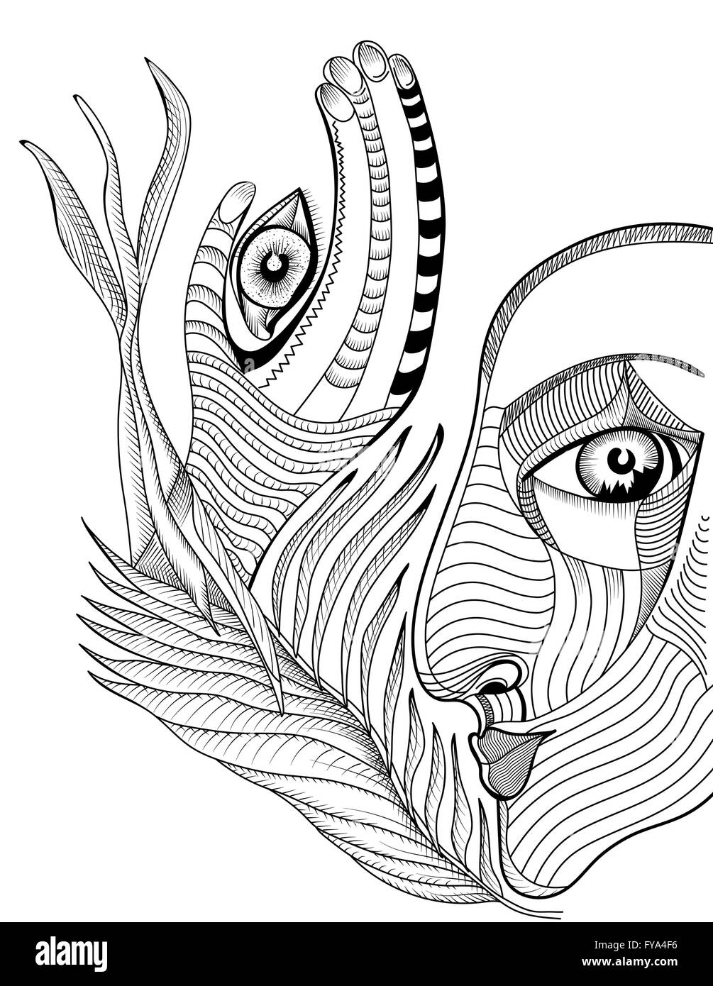 Abstract Face Line Drawing : Abstract surreal face and hand with mehndi tattoo