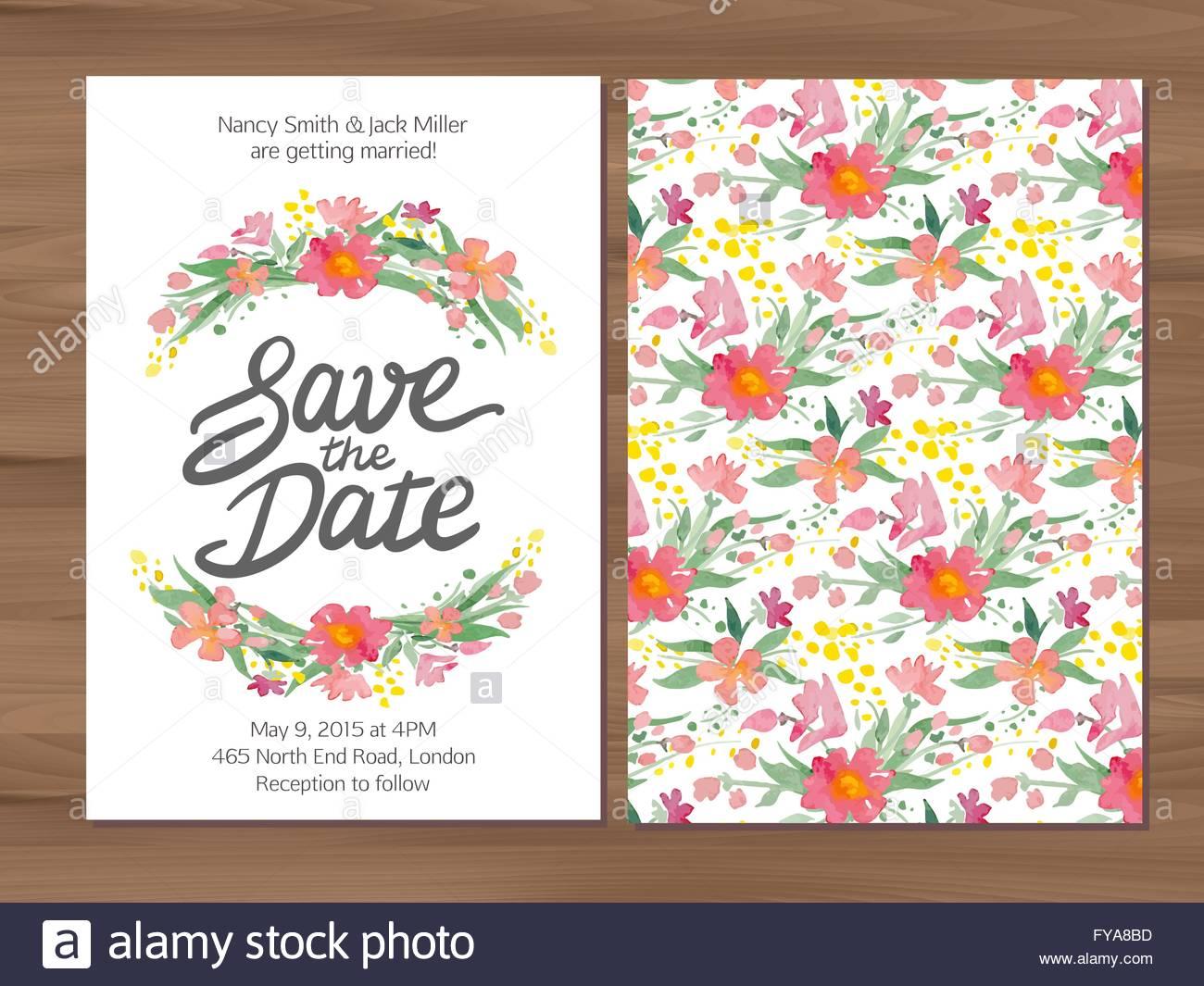 Vector wedding invitation with watercolor flowers and hand drawn vector wedding invitation with watercolor flowers and hand drawn stopboris Images