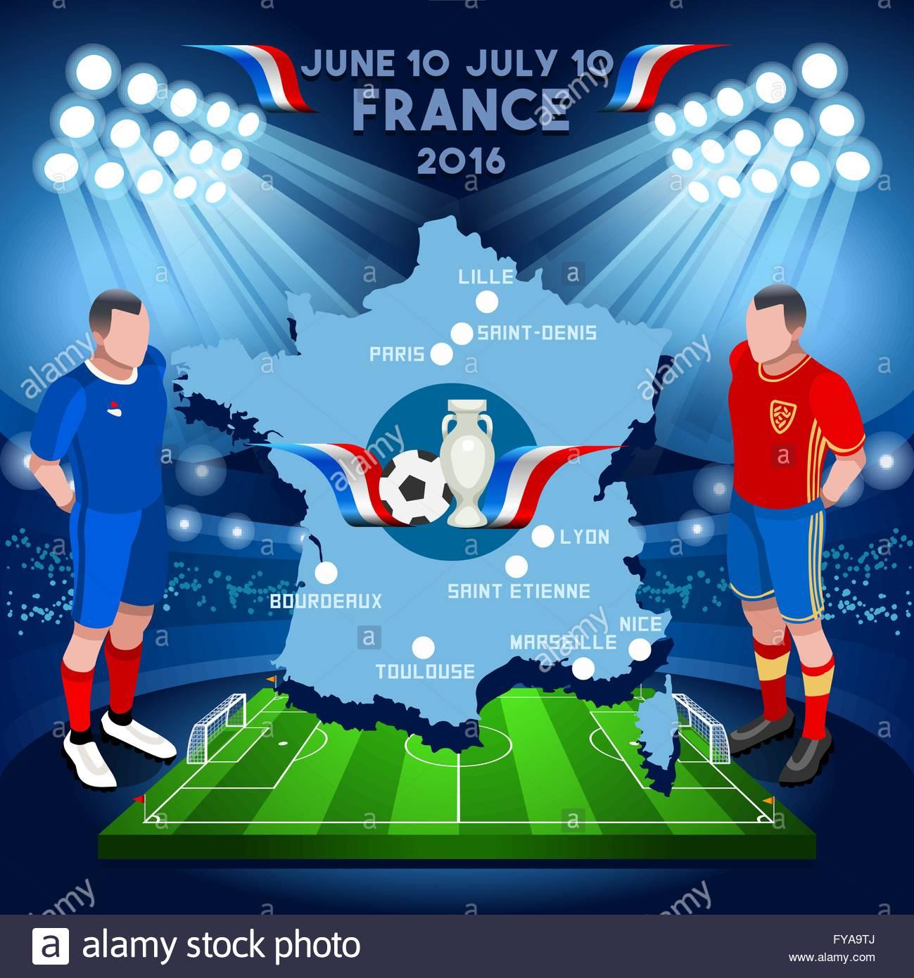 Euro 2016 Europe Football Set Soccer Stock Illustration 351177575 ...