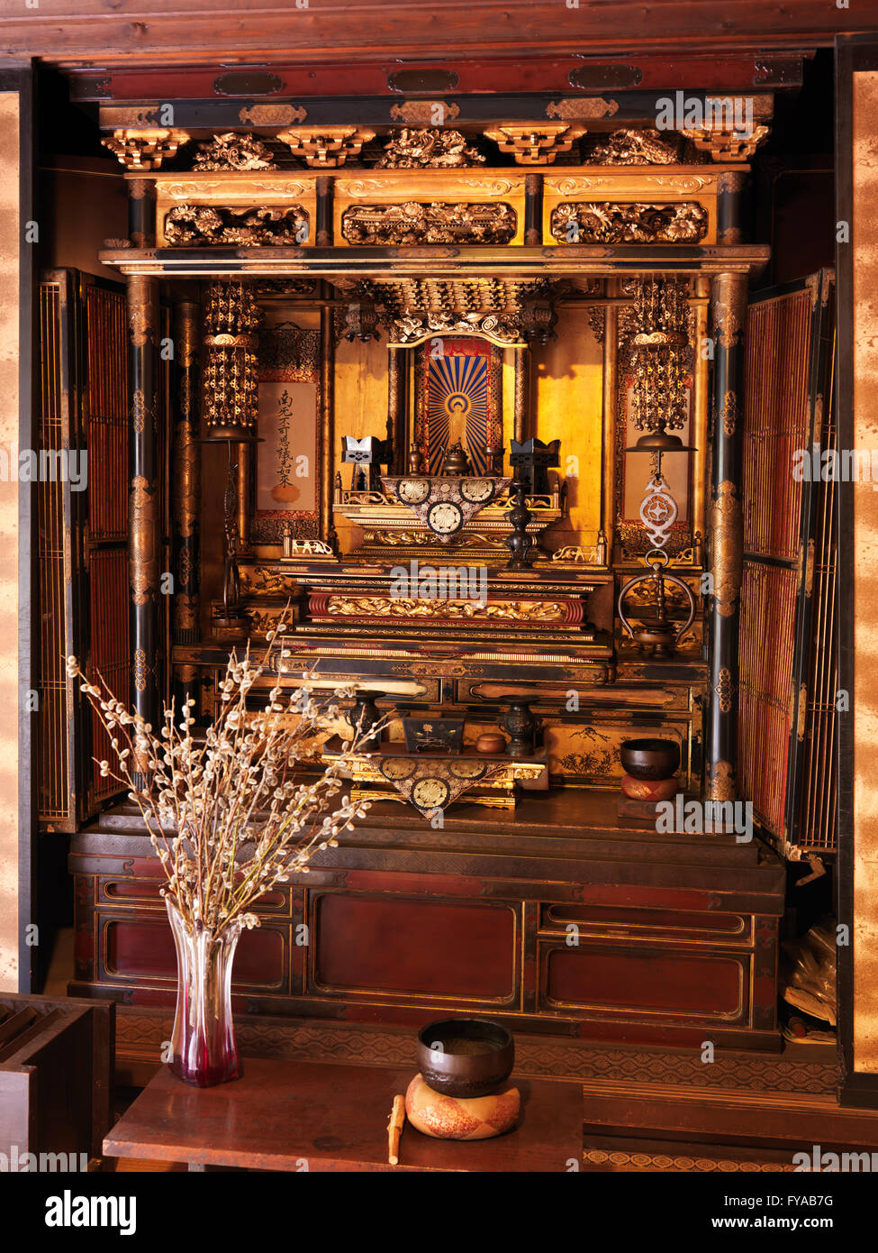 Butsudan, Japanese Buddhist altar in a historic Japanese house ...