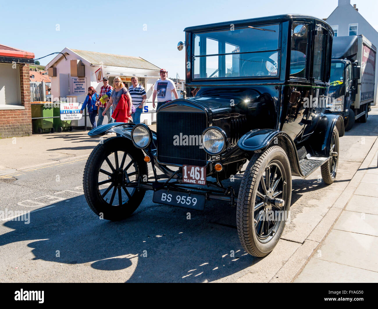 A rare 1921 ford model t centerdoor sedan parked in whitby north yorkshire england uk