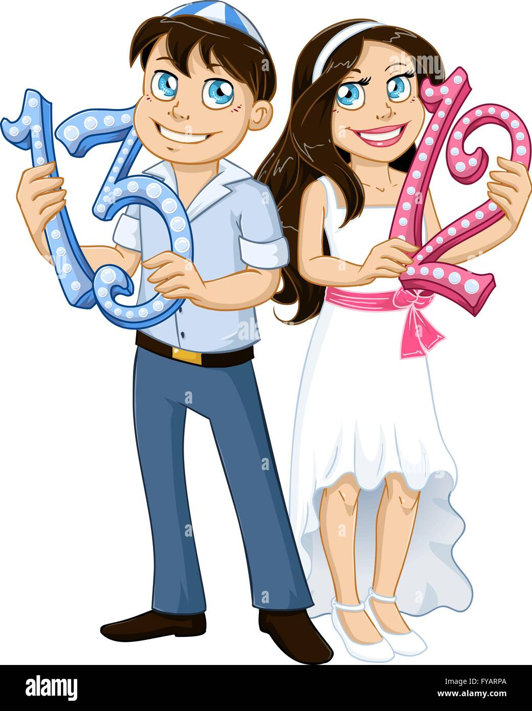 Vector illustration of jewish boy and girl holding the numbers 13 vector illustration of jewish boy and girl holding the numbers 13 and 12 for bar and bat mitzvah biocorpaavc Gallery
