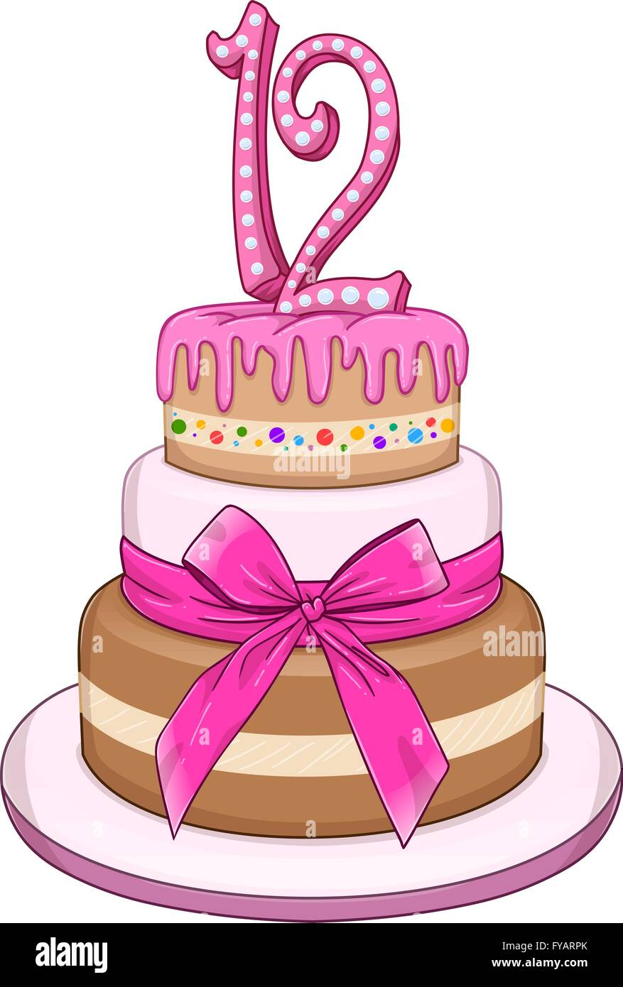 Vector Illustration Of 3 Floors Pink Cake With The Number