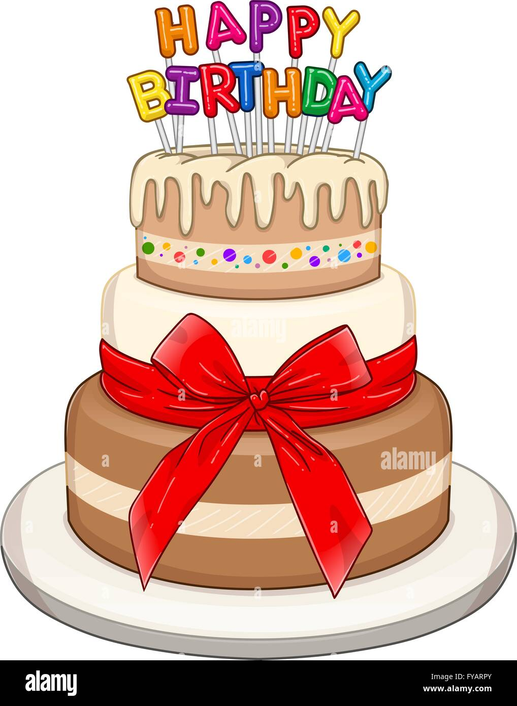 Vector illustration of 3 floors birthday cake with Happy ...