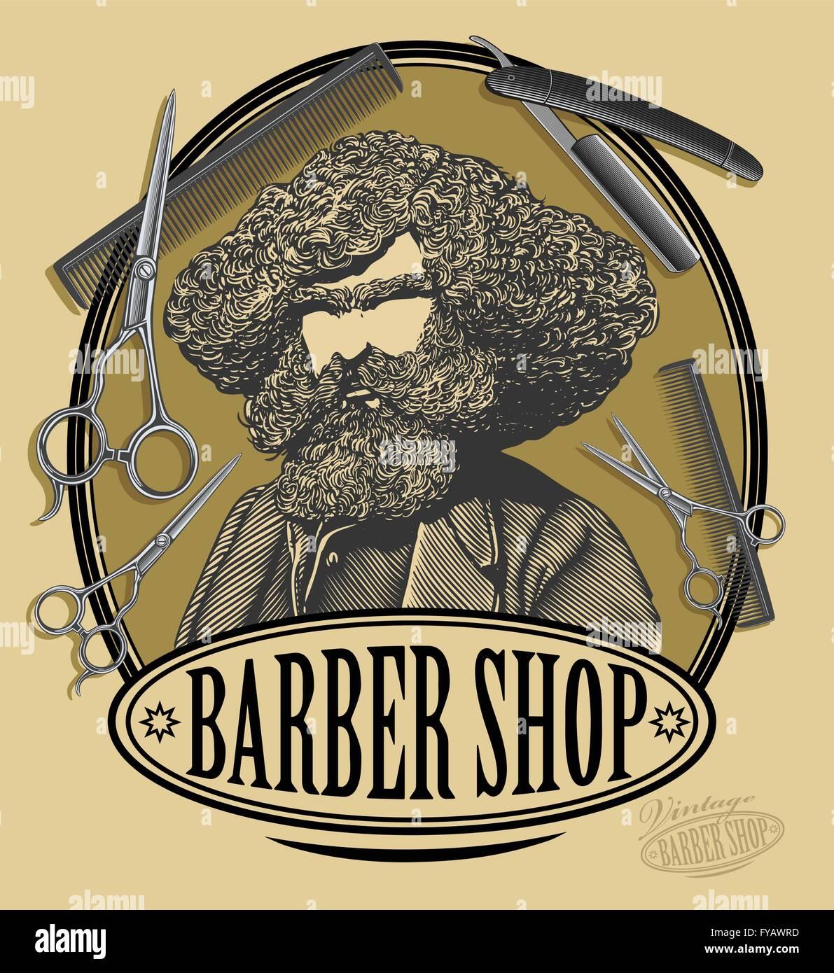 vintage barber shop logo stock vector art amp illustration