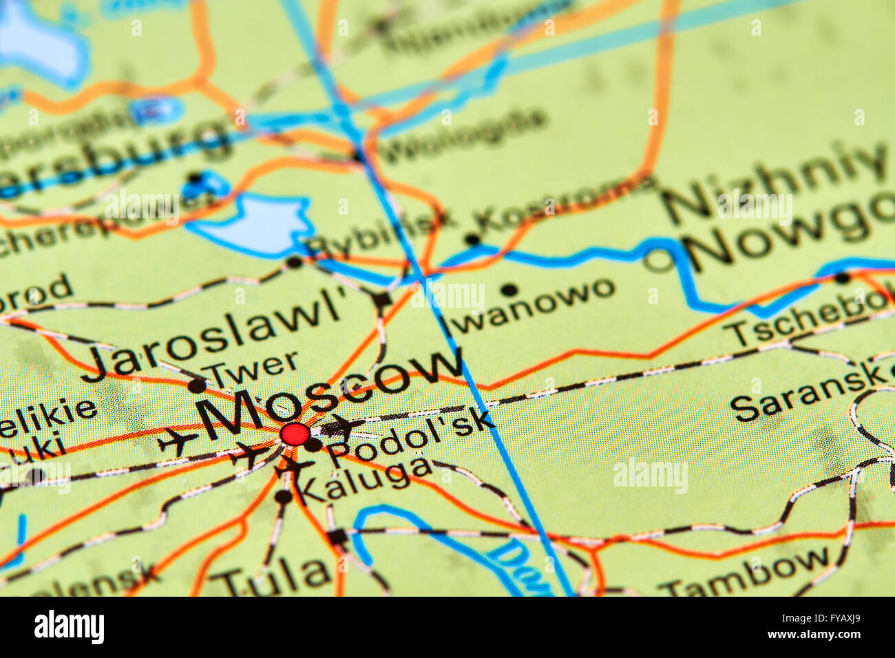 Moscow Capital City of Russia on the World Map Stock Photo