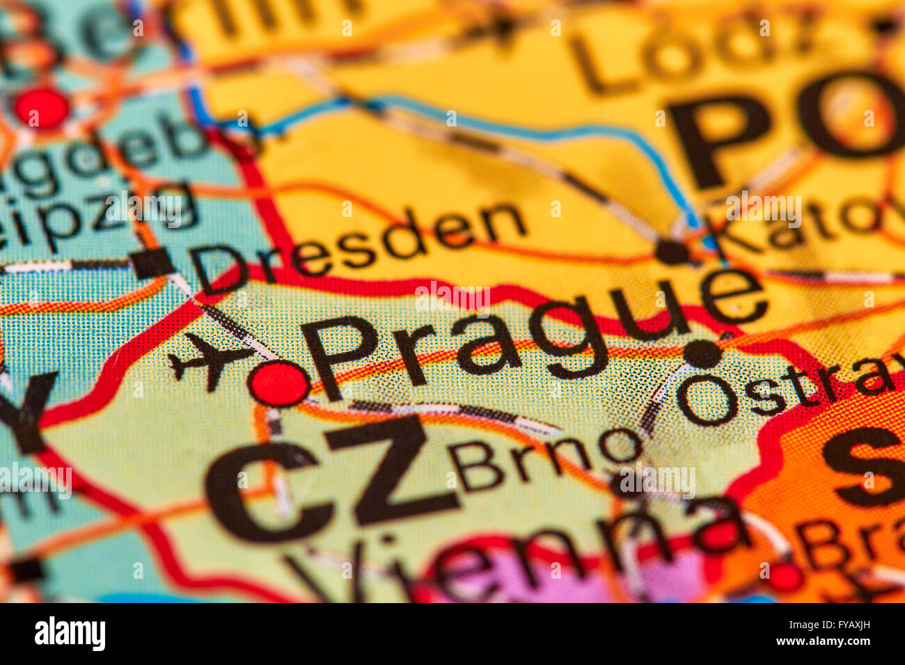 Prague Capital City of Czech Republic on the World Map Stock