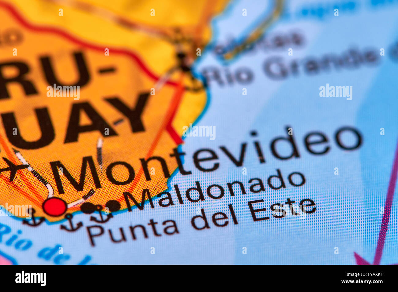 Montevideo Capital City of Uruguay on the World Map Stock Photo