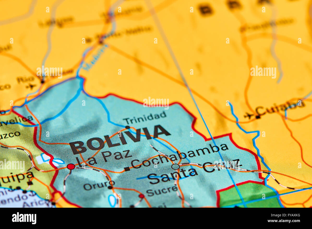 Bolivia Country In South America On The World Map Stock Photo - Map of bolivia world