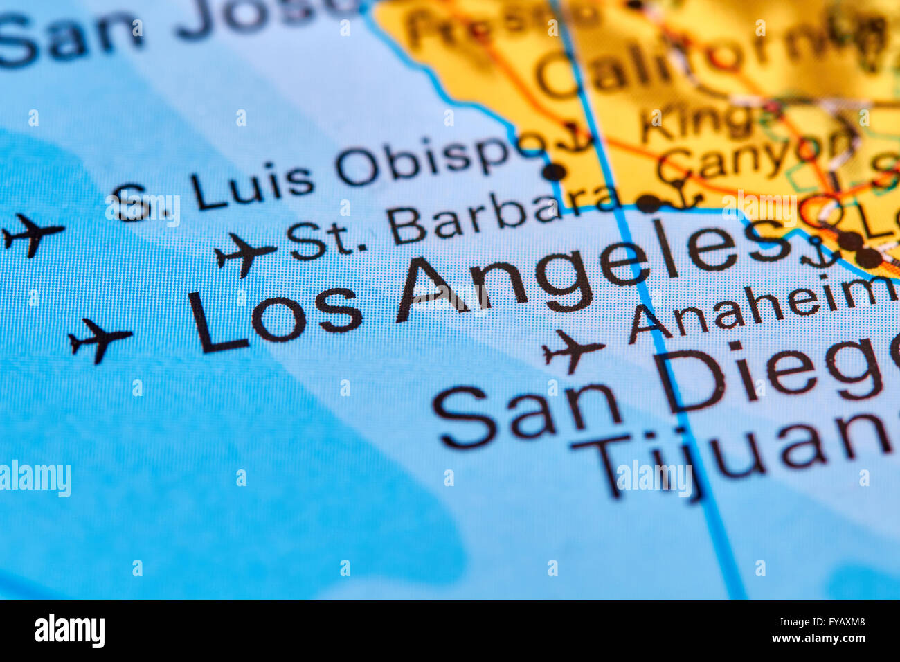 Los Angeles City in USA on the World Map Stock Photo Royalty