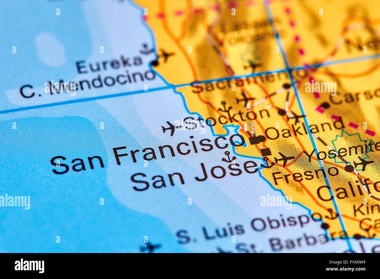 San Francisco City In USA On The World Map Stock Photo Royalty - Usa map san francisco