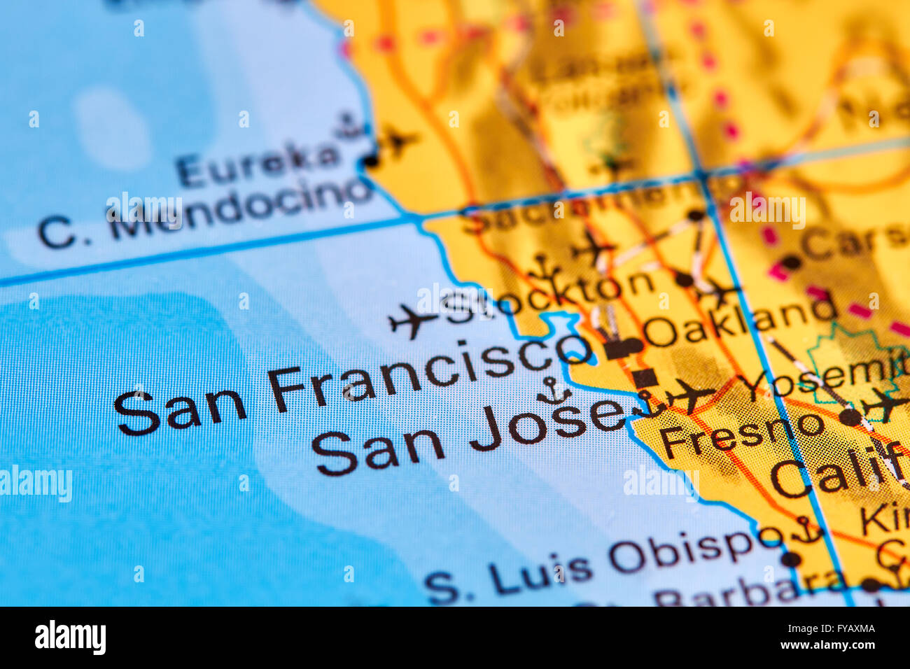San Jose City in USA on the World Map Stock Photo Royalty Free