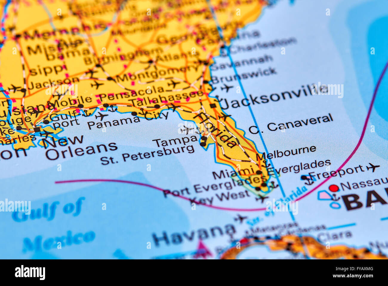 Florida State In USA On The World Map Stock Photo Royalty Free - Florida usa map