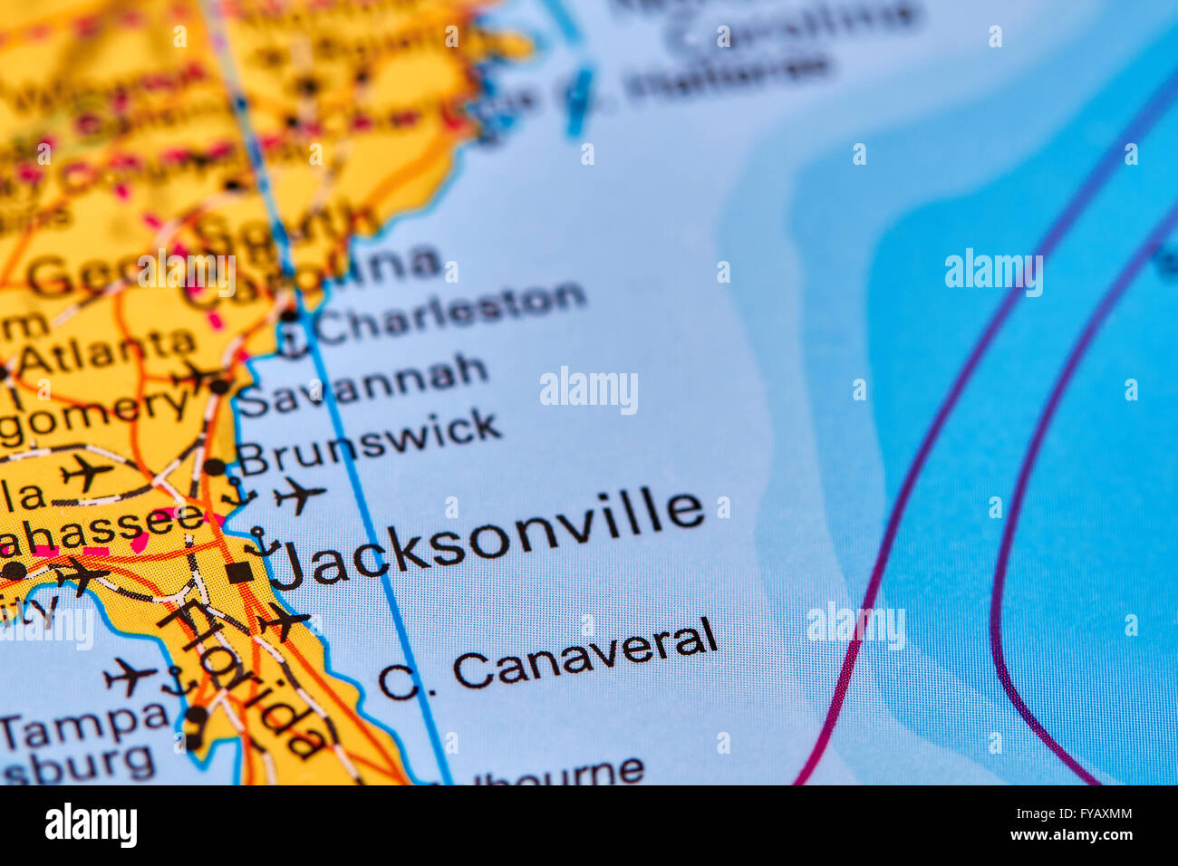 Jacksonville City in USA on the World Map Stock Photo Royalty