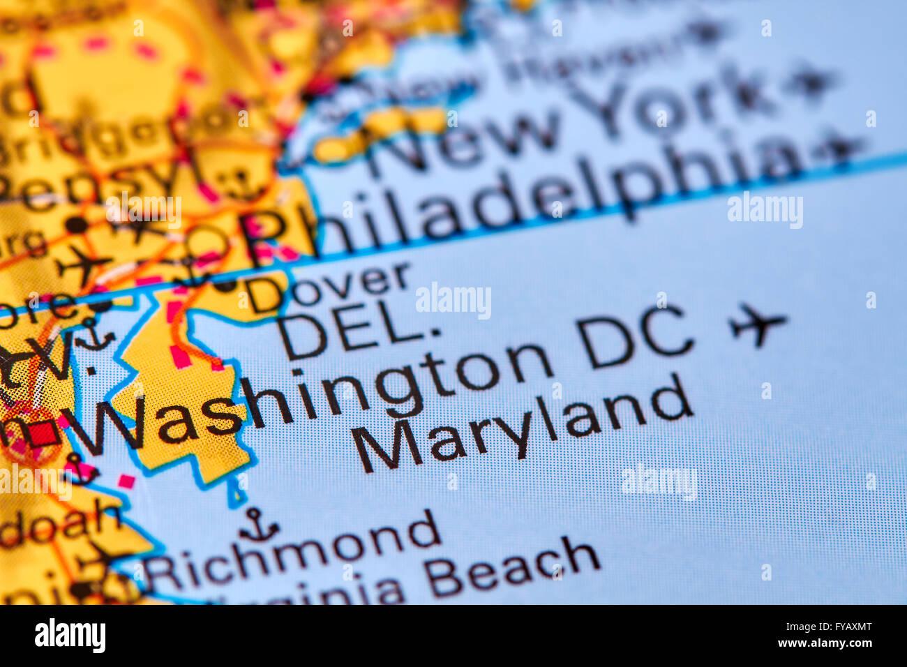 Washington DC Capital City of the USA on the World Map Stock