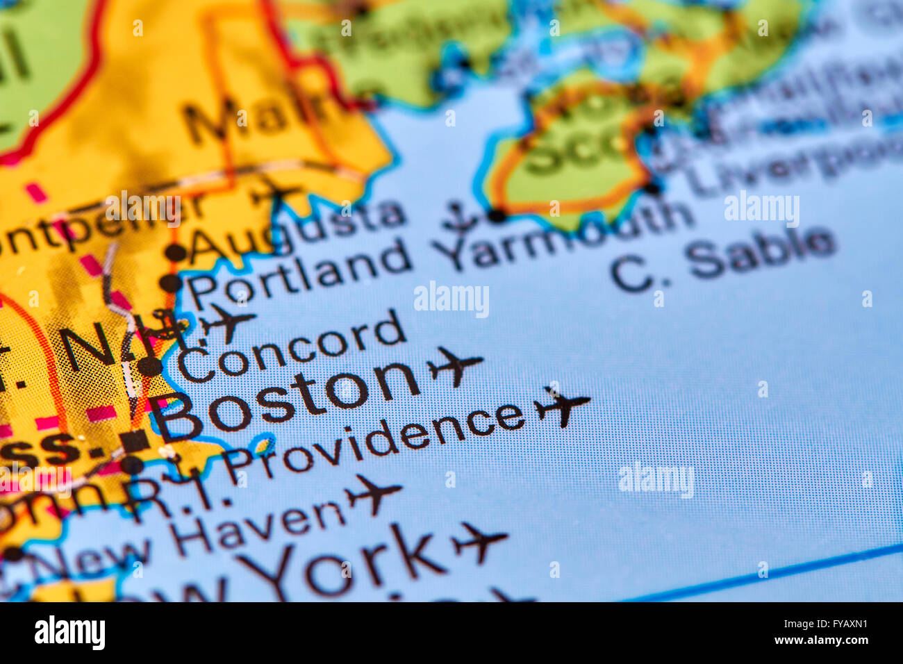 Boston City in USA on the World Map Stock Photo Royalty Free