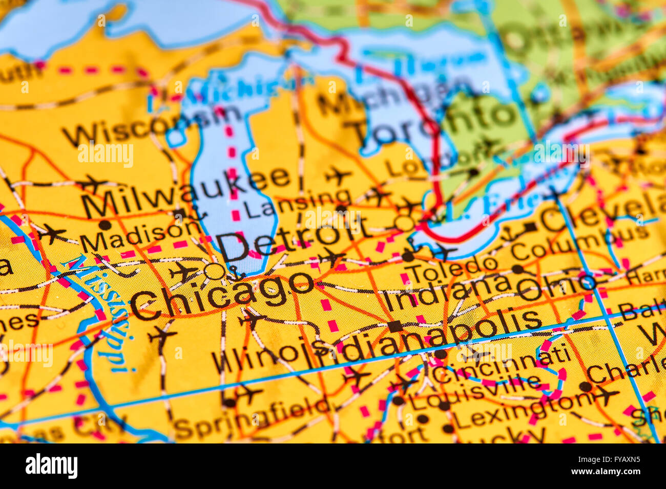 Chicago City in USA on the World Map Stock Photo Royalty Free