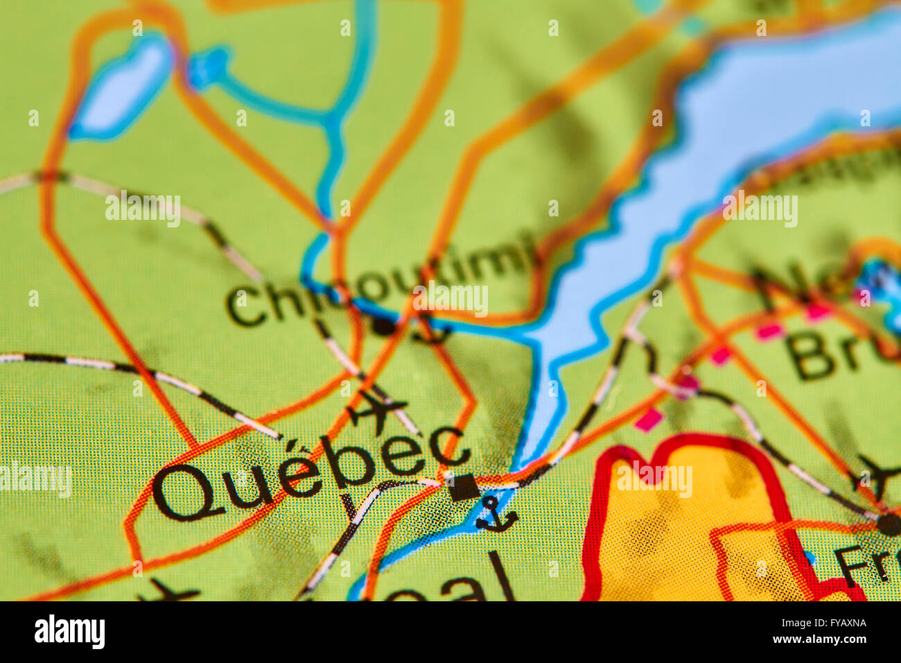 Quebec City in Canada on the World Map Stock Photo Royalty Free