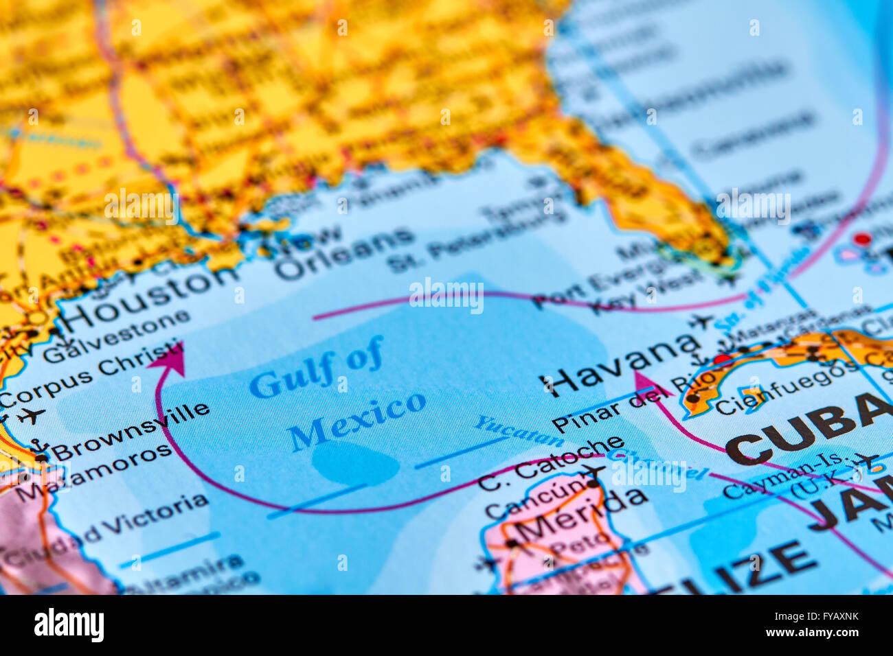 Gulf of Mexico on the World Map Stock Photo Royalty Free Image