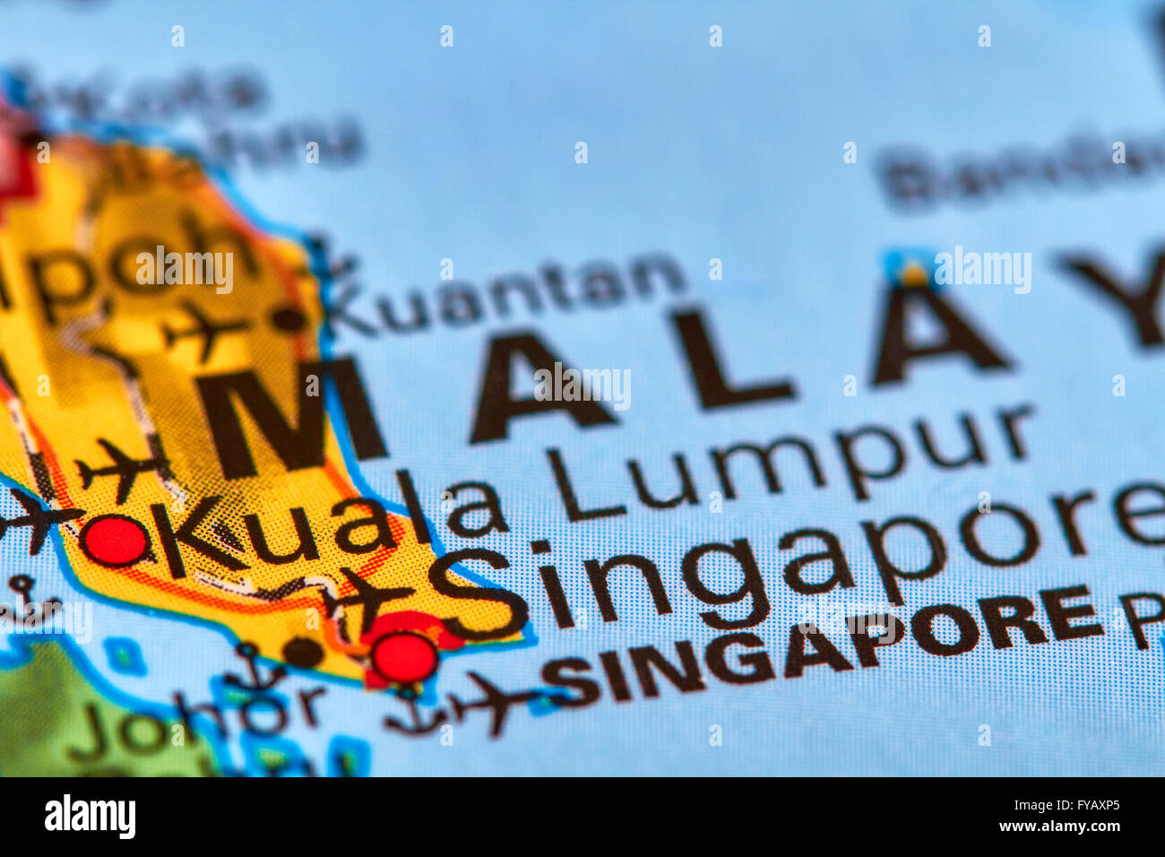 Kuala Lumpur Capital City of Malaysia on the World Map Stock