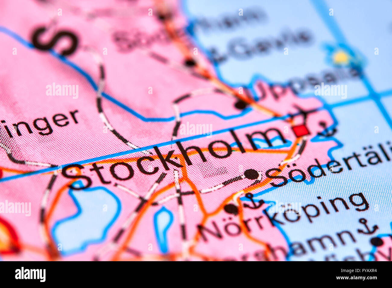 Stockholm Capital City Of Sweden On The World Map Stock Photo - Sweden map search