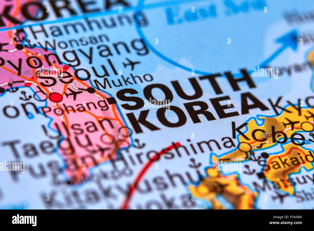 South Korea Country in Asia on the World Map Stock Photo Royalty