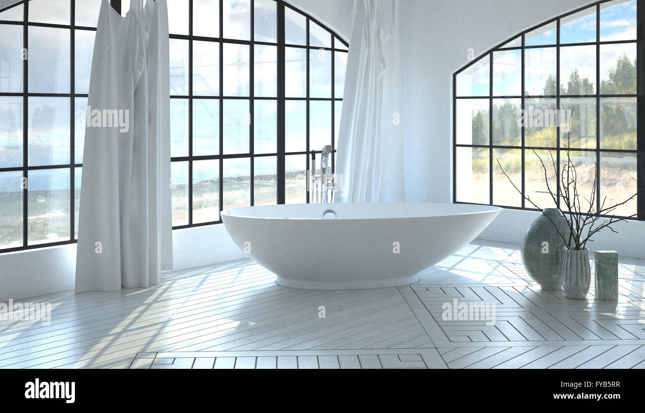 Freestanding Tub For Two. Modern minimalist white monochromatic bathroom interior with a corner freestanding  tub between two large arched Stock