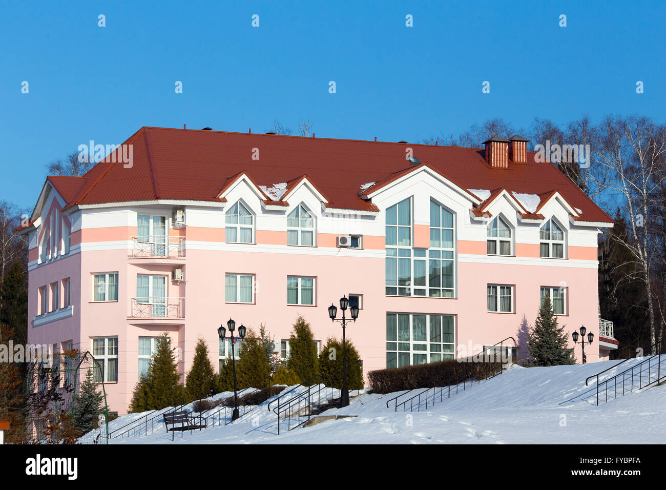 nice apartment building at winter time stock photo royalty free image 102906702 alamy. Black Bedroom Furniture Sets. Home Design Ideas