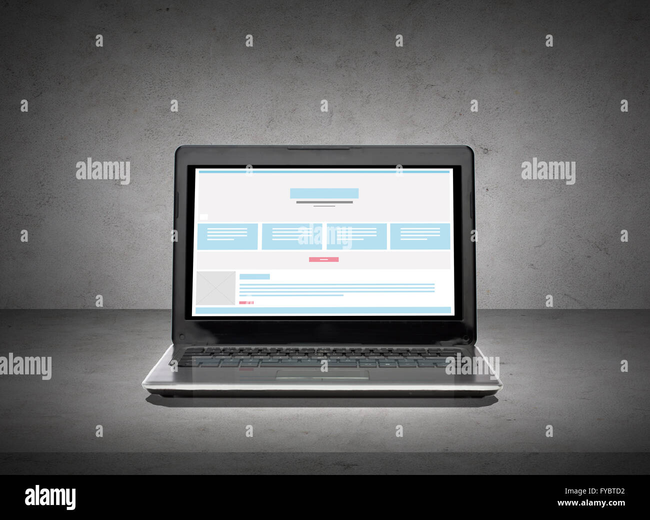 Laptop computer with web design template on screen stock photo laptop computer with web design template on screen pronofoot35fo Gallery