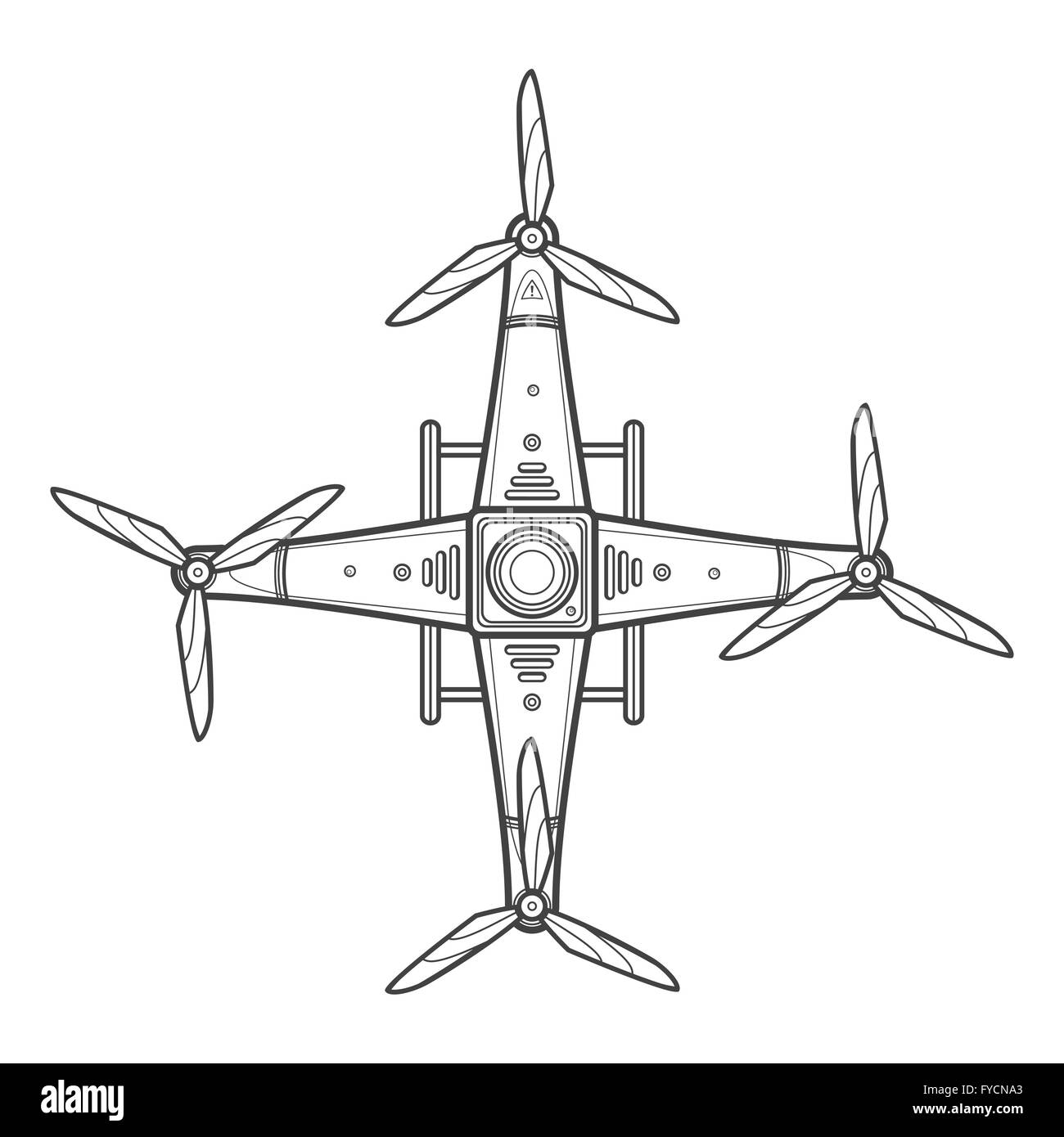 Vector Dark Contour Design Quadcopter Drone Three Blades Propellers Top View Isolated Illustration White Background