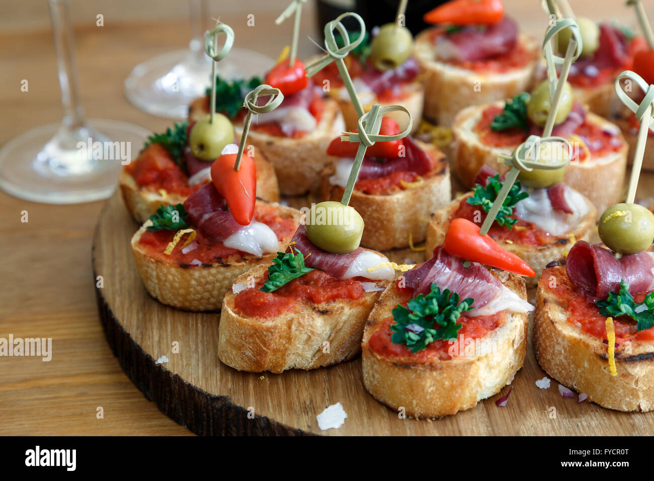 pinchos tapas spanish canapes party finger food stock. Black Bedroom Furniture Sets. Home Design Ideas