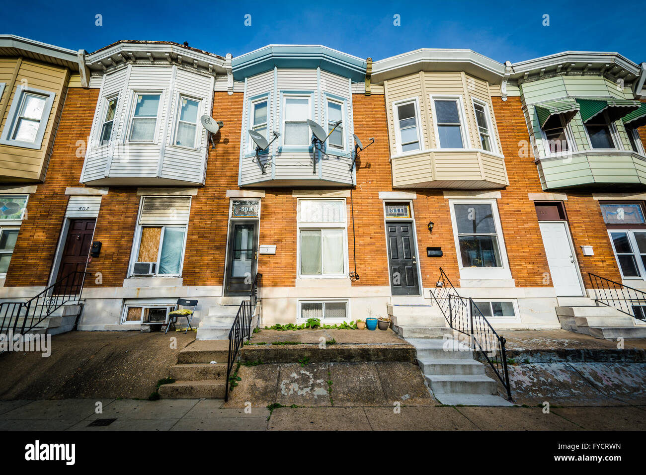 Row Houses In Baltimore Md : Row houses in greektown baltimore maryland stock photo