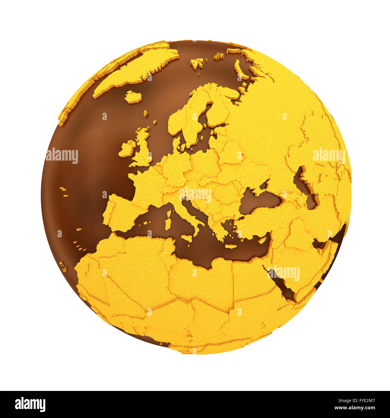 Europe on chocolate model of planet Earth. Sweet crusty continents ...