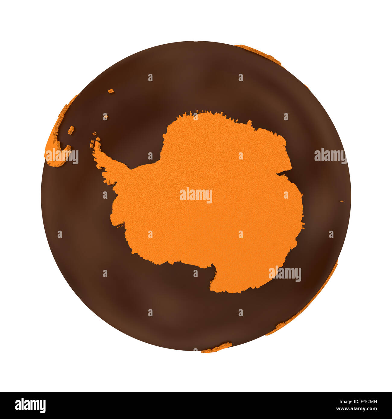 Antarctica on chocolate model of planet Earth. Sweet crusty Stock ...
