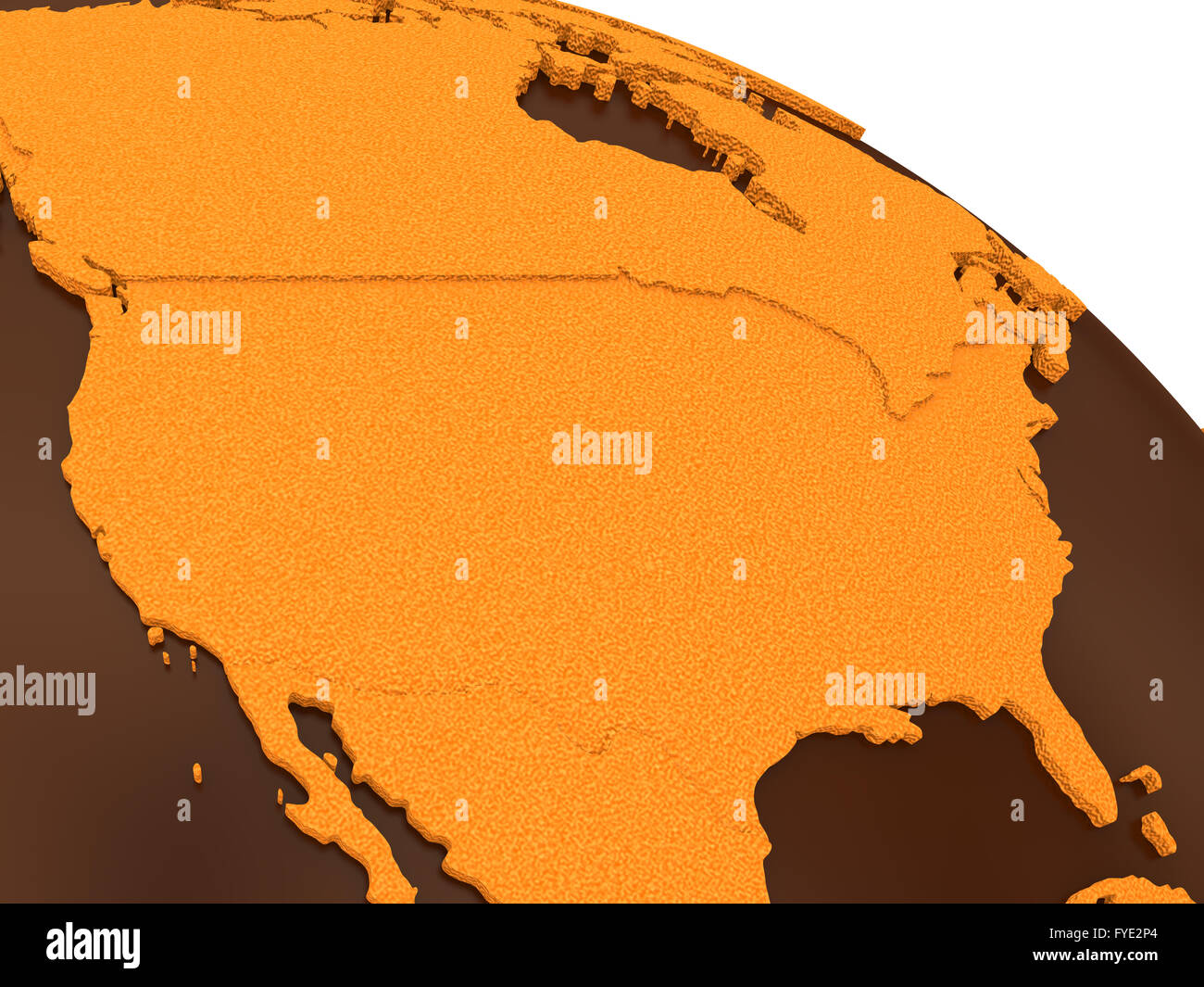 USA on chocolate model of planet Earth. Sweet crusty continents ...