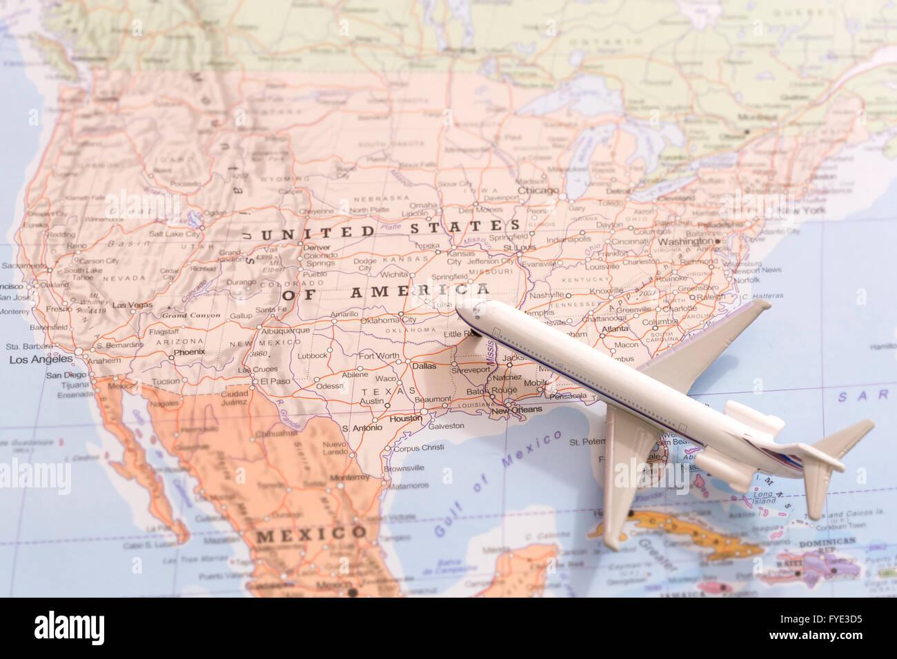 Travel United America Passenger Plane Stock Photos  Travel United - United states of america map los angeles