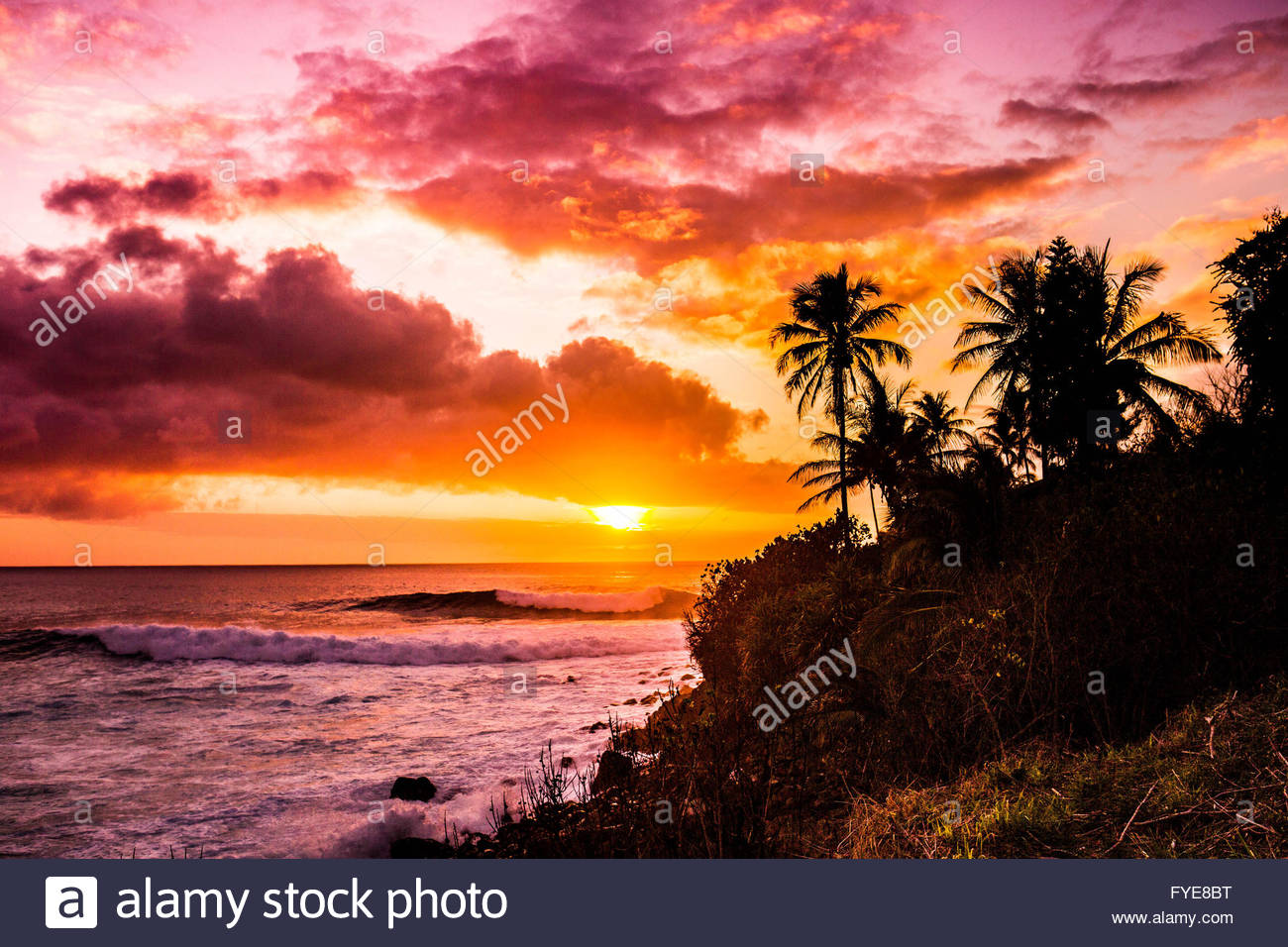 Sunrise at Waimea Bay in Oahu, Hawaii Stock Photo, Royalty ...