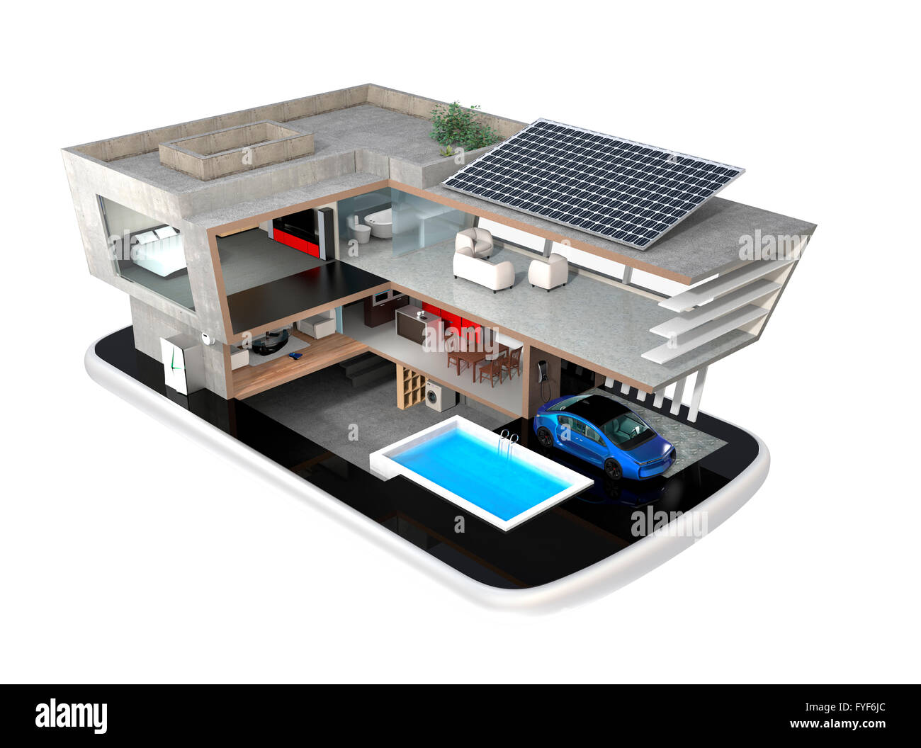 Smart House Phone smart house on a smart phone. the smart house equippd with solar