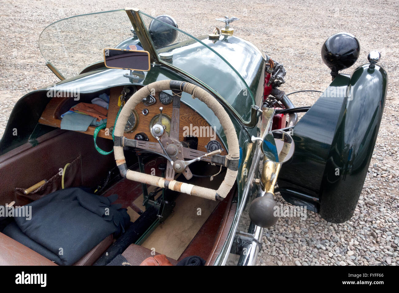 Morgan three wheeler vintage car scotland uk stock image