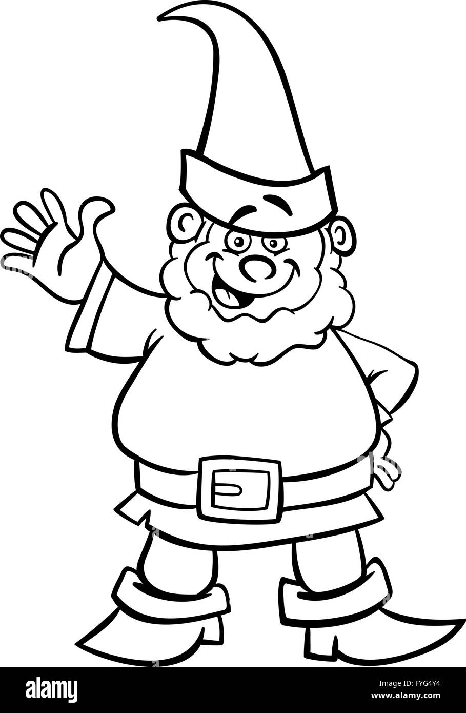 gnome or dwarf cartoon for coloring book stock photo royalty free