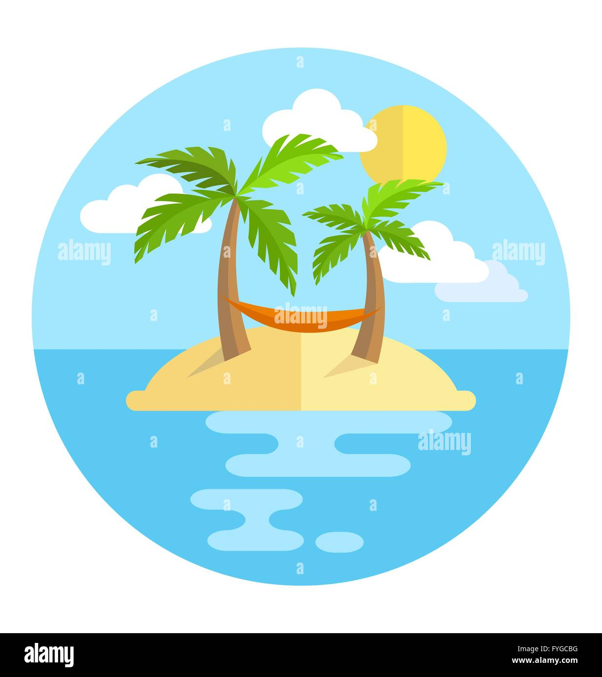 summer vacation circle icon island with palms sun and hammock is summer vacation circle icon island with palms sun and hammock is      rh   alamy