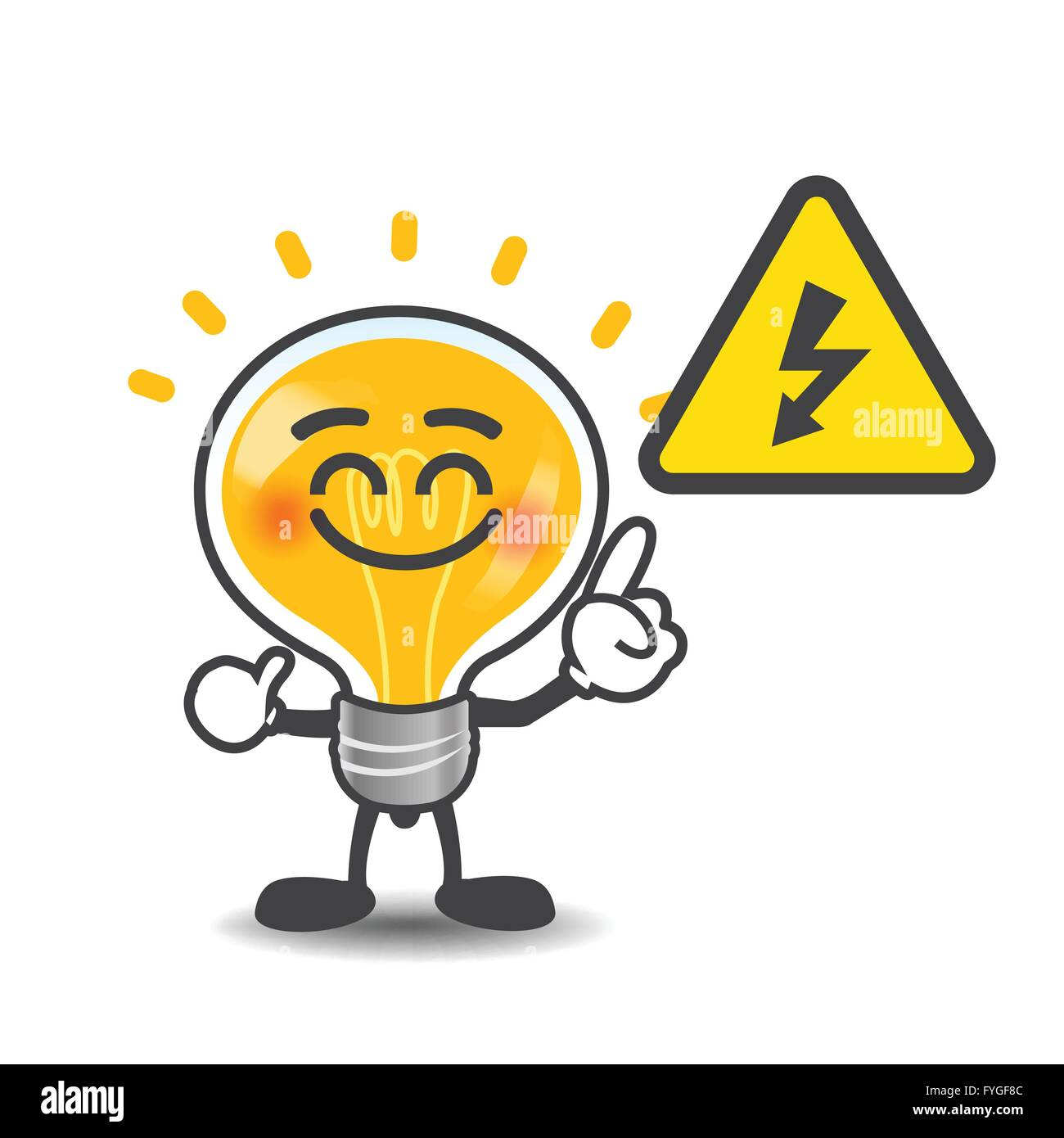 Bulb Lamp Cartoon Pointing To Electric Power Volt Symbol Isolated On The White Background Vector Illustration