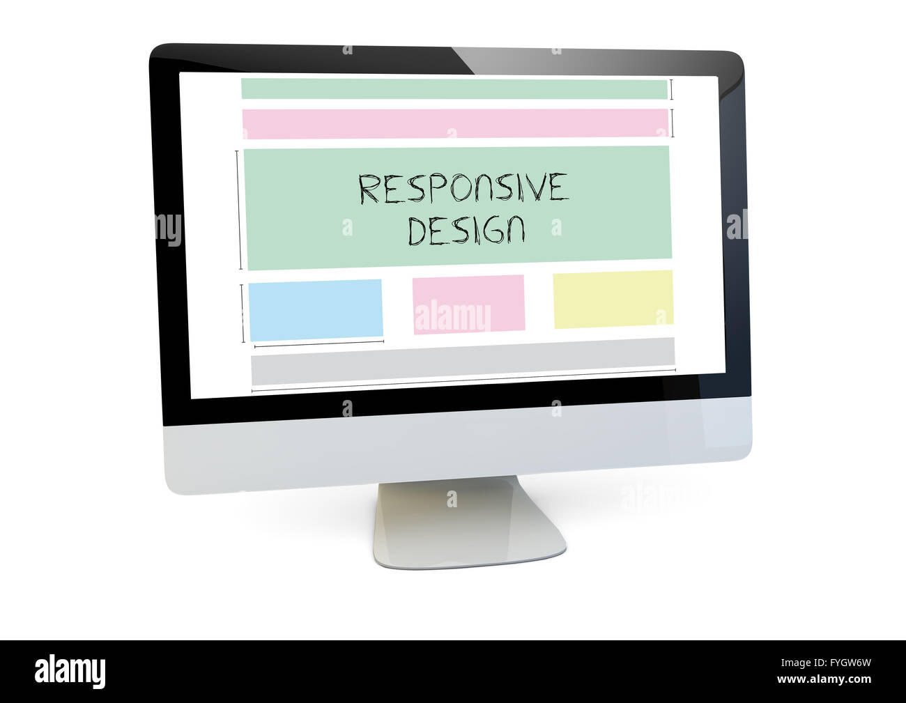 modern web design concept: render of a computer with responsive ...