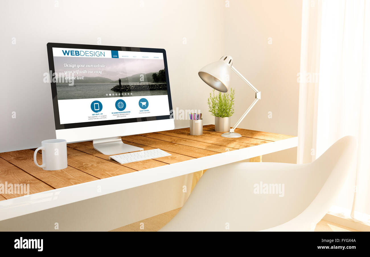 Superbe Minimalist Freelance Web Designer Studio With Design Website On Screen  Computer And Copyspace. 3d Illustration. All Screen Graph